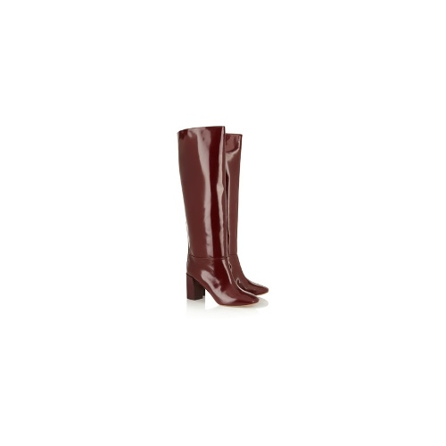 Polished leather knee boots