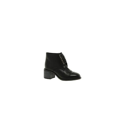 F-Troupe Chunky Western Lace Up Ankle Boots - Black