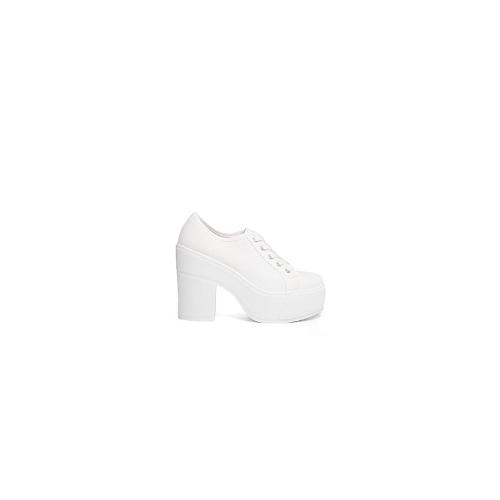 Shellys London White Textile Canvas Lace Up Heeled Shoe - White