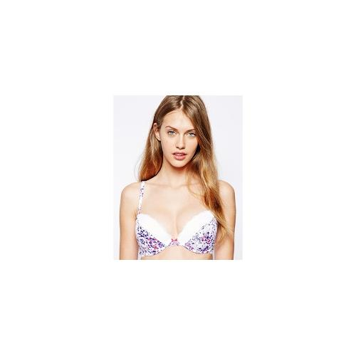 Marie Meili Temptress Push Up Bra - White/bright rose