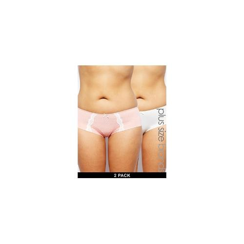Marie Meili Curves Dana Two Pack Hipster Briefs - Soft peach dot/ivory