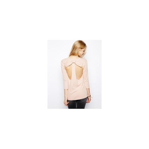 ASOS Jumper With Open Back And Bow - Nude