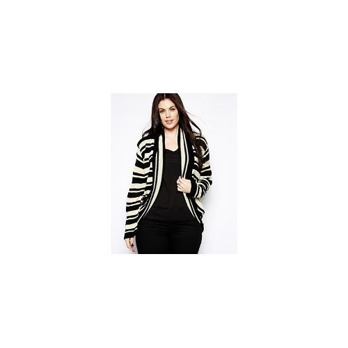 Club L Plus Size Striped Cardigan