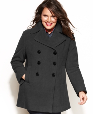 Kenneth Cole Reaction Plus Size Coat, Double-Breasted Wool-Blend Pea Coat