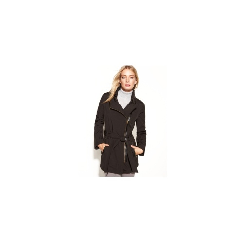 MICHAEL Michael Kors Coat, Hooded Asymmetrical Belted Soft-Shell