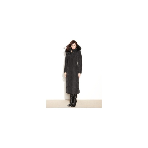 Jones New York Coat, Hooded Faux-Fur-Trim Maxi Puffer