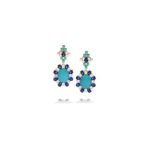 Moroccan gold-plated cubic zirconia earrings