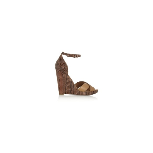 Livia leather and snake-effect wedge sandals