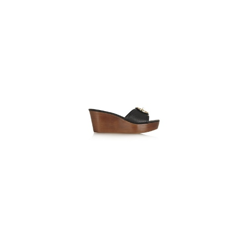 Selma textured-leather wedge sandals