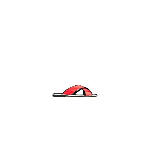 ASOS FRACTURE Leather Sliders - Red