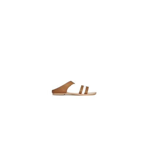 Sol Sana Bertie Minimalist Leather Flat Sliders - Tan