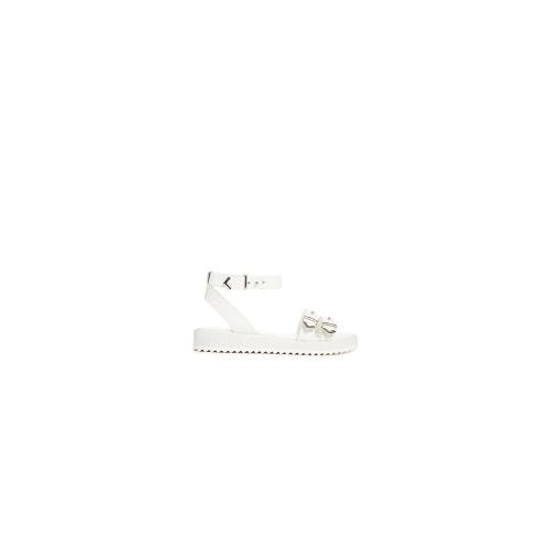 Shelly's London Flat Strap Buckle White Flat Sandals - White
