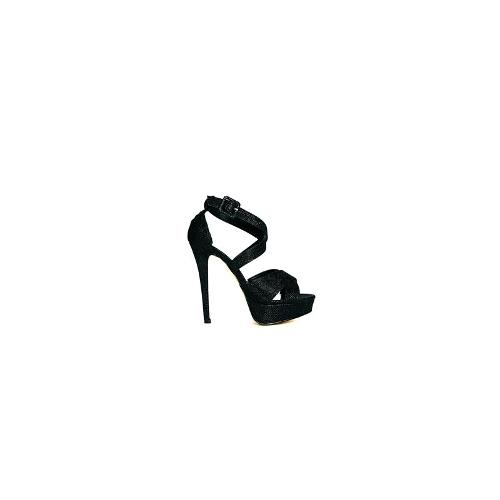 Truffle Strappy Platform Heeled Sandals - Black
