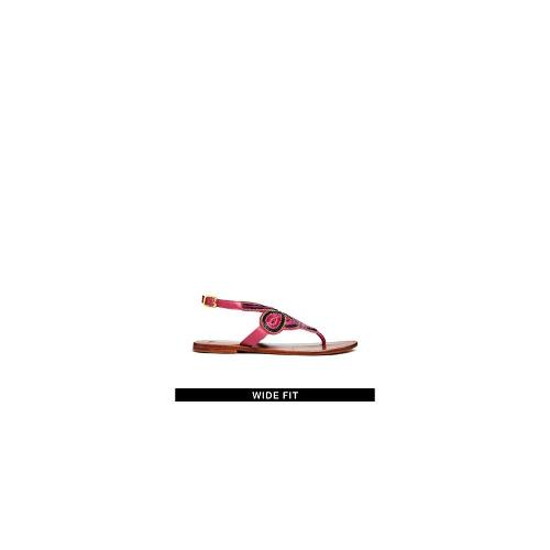 ASOS FAMILY AFFAIR Leather Wide Fit Sandals - Pink
