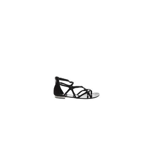 Sam Edelman Tamara Leather Flat Sandal - Black suede