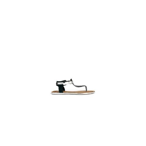 Dune Jayla Two Tone White T Flat Sandals - White