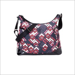 OiOi - Rose Chevron with Black Patent Trim Tote Bag - Bags