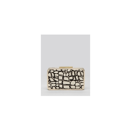 Pour La Victoire Clutch - Patterned Calf Hair Minaudiere