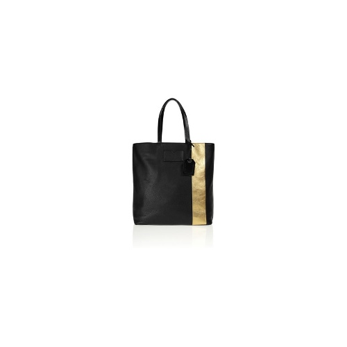 Gym Bag metallic-striped leather tote