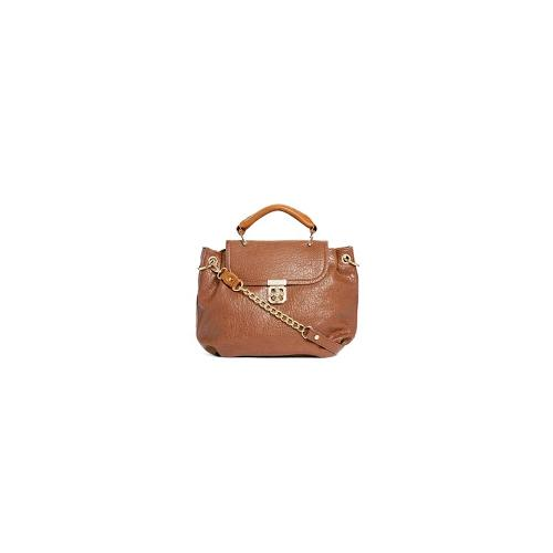 Liquorish Gold Bar Twist Satchel - Beige/brown