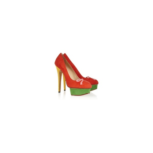 Arabella color-block suede platform pumps