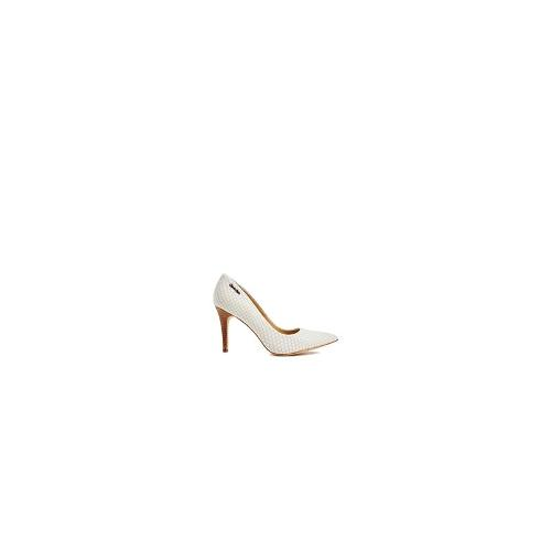 Calvin Klein Darma Snake Print Heeled Court Shoes - White