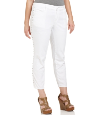 DKNY Jeans Plus Size Jeans, City Skinny Studded, White Wash