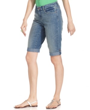 Style&co. Jeans, Curvy-Fit Cuffed Bermuda, Seaglass Wash