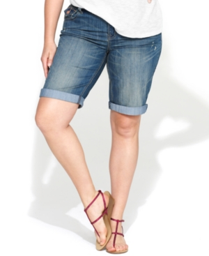 INC International Concepts Plus Size Shorts, Denim Bermuda, Sweet Wash