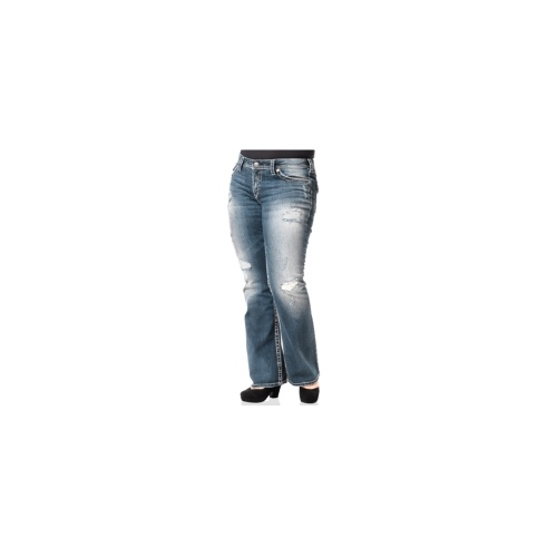 Silver Jeans Plus Size Jeans, Pioneer Destructed Bootcut, Blue Wash