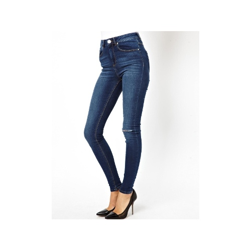 Ridley High Waist Ultra Skinny Jeans in Faded Authentic with Ripped Knee