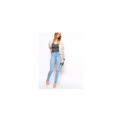 ASOS Ridley High Waist Ultra Skinny Jeans in Watercolour Light Wash Blue with Busted Knees - Watercolour blue