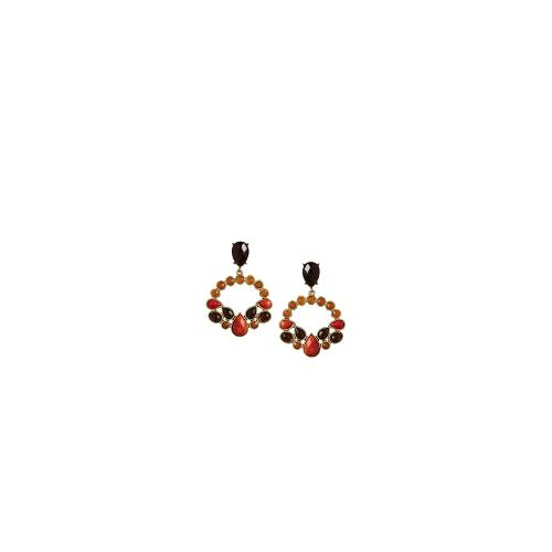 Nali Milk Amber Leaves Earrings - Orange