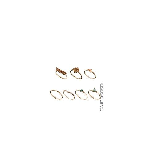 ASOS CURVE Triangle Stone Ring Pack - Gold