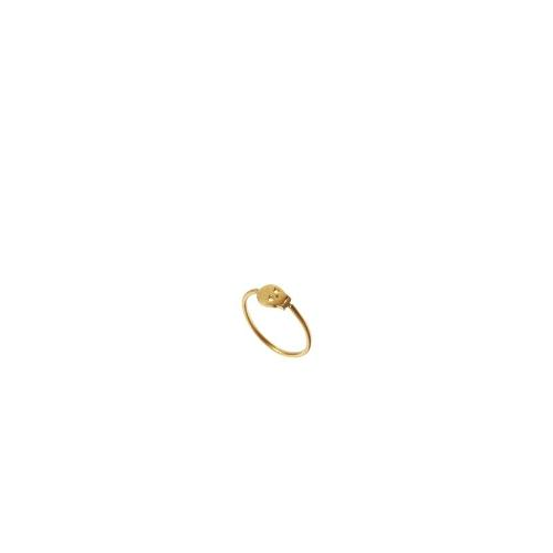 Dogeared Gold Plated Sideways Skull Ring - Gold