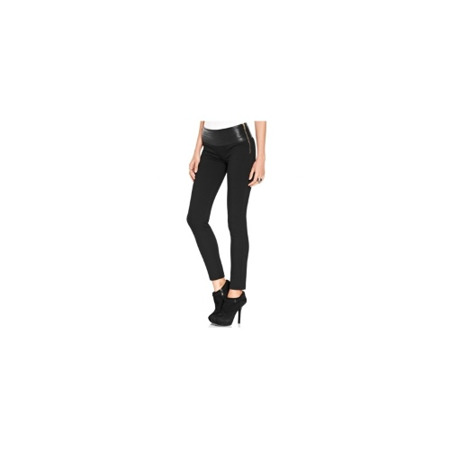 XOXO Juniors Pants, Skinny Faux-Leather-Trim Trousers