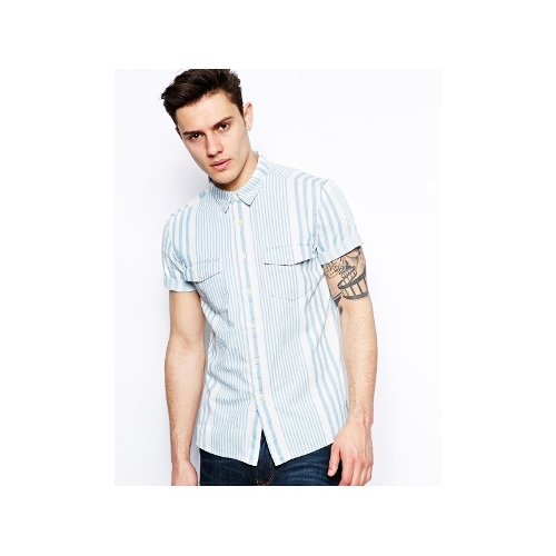Striped Denim Shirt In Short Sleeve