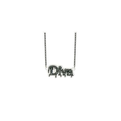 Funky Bling Diva Short Chain Necklace - White and black