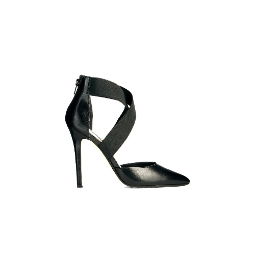 Demie Black Pointed Strappy Court Shoes
