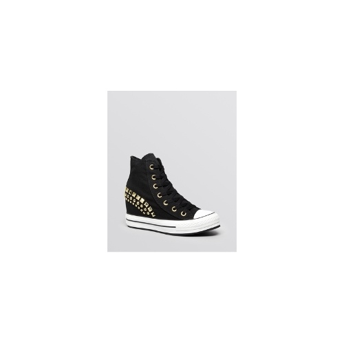 Converse Lace Up High Top Wedge Sneakers - All Star Platform Plus