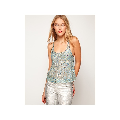 Swing Cami With All Over Crystal Embellishment