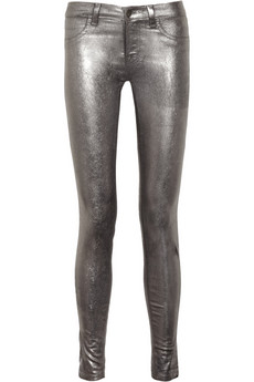 801 metallic-coated mid-rise skinny jeans