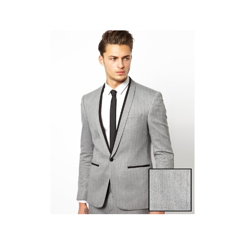 Skinny Fit Suit Jacket in Herringbone