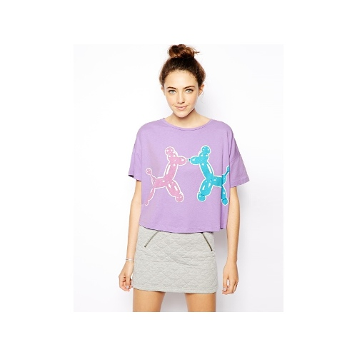 Cropped T-Shirt with Balloon Animals