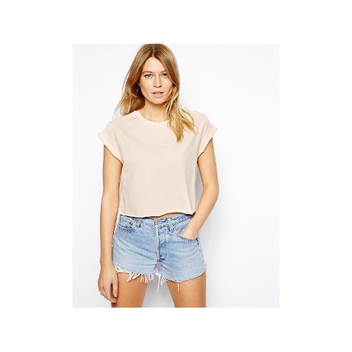 Cropped Boyfriend T-Shirt with Roll Sleeve