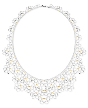 Sterling Silver 14k Gold over Sterling Silver Necklace, Flower Collar Necklace