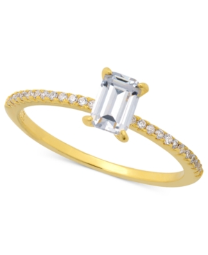 CRISLU Ring, 18k Gold over Sterling Silver Emerald-Cut Cubic Zirconia Solitaire Ring (3/5 ct. t.w.)