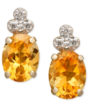 10k Gold Earrings, Citrine (1-9/10 ct. t.w.) and Diamond Accent Oval Oval Tri Top