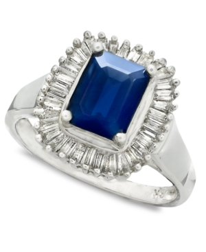 Effy Collection 14k White Gold Ring, Sapphire (1-5/8 ct. t.w.) and Diamond (5/8 ct. t.w.)
