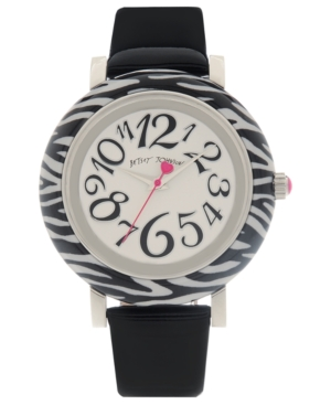 Betsey Johnson Watch, Women's Black Patent Leather Strap 41mm BJ00118-04